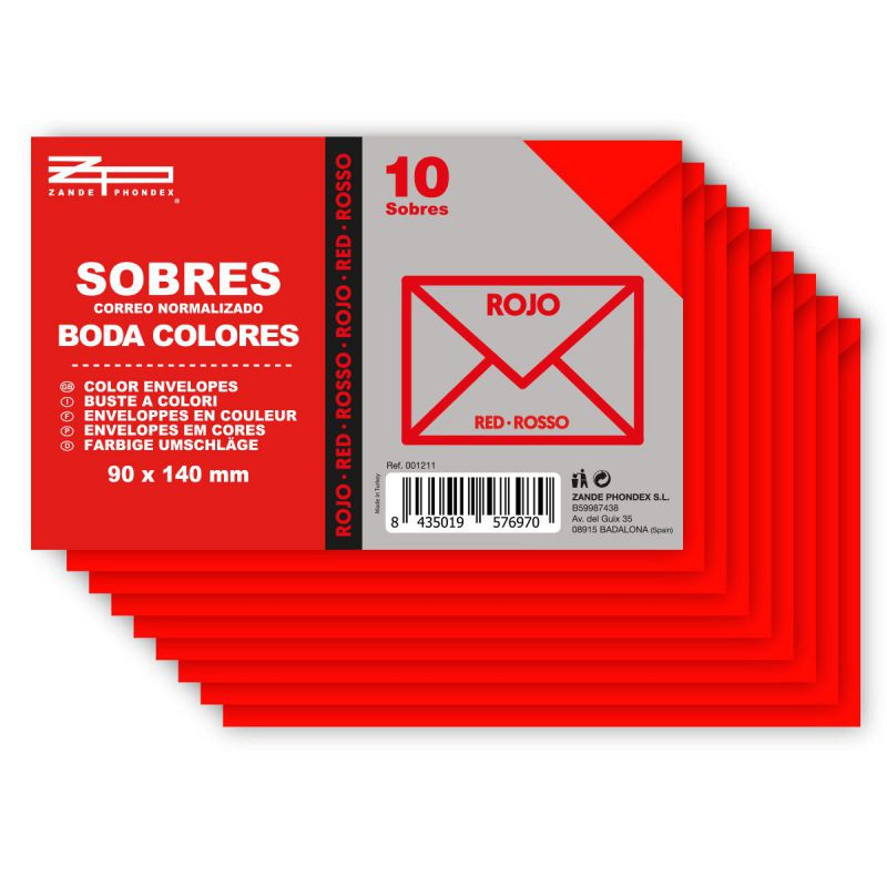 10 sobres 90x140 color rojo